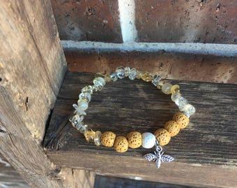 Citrine Gemstone, Yello and White Lava Essential Oil Diffuser Bracelet