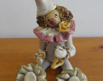 Vintage handmade stoneware pottery clown unique collectible
