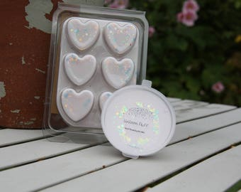 Unicorn Fluff Soy Wax Melts, Fairytale wax melts, clamshell, hearts, shock pot, castle