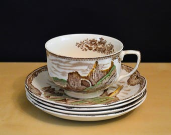 5 pcs Johnson Bros Old Britain Castles Brown Transer, 4) Saucers Rock of Cashel, 1) Tea Cup Holy Cross Abbey+