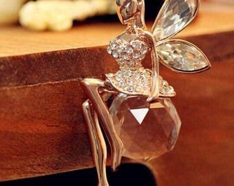 Crystal Angel Wings Long Chain Necklace Butterfly Fairy Necklace
