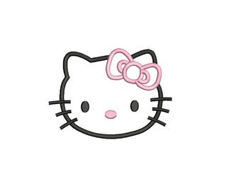 Kitty Applique Design - 3,4,5,6 inch size instant download