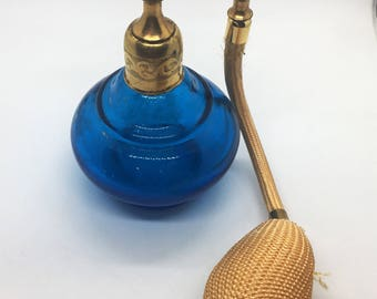 Vintage Perfume Atomizer - Blue and Gold Tone Glass Perfume Bottle - Blue Glass Color Gold Tassel