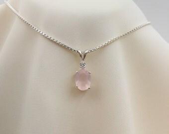 Sterling Silver Rose Quartz & Lab Sapphire Pendant
