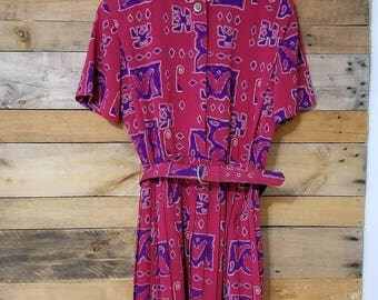 Vintage Pink and Purple Dress with matching Belt