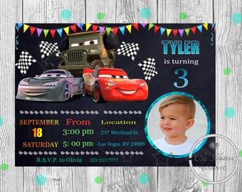 Disney Cars Invitation - Cars Birthday Party Invitation - Disney Cars Printable - Cars Invitations - Lightning McQueen Invitation
