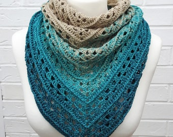 Crochet Lace Shawl - Gradient Teal Turquoise to Light Beige - Summer Shawlette - Knitted Shoulder Scarf - Ocean Beach Island Knit Wrap