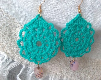 Crochet earrings with colored stone-crochet Earrings with stones