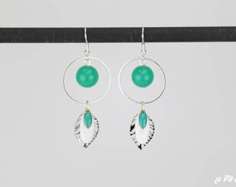 Earrings emerald green and silver #1147
