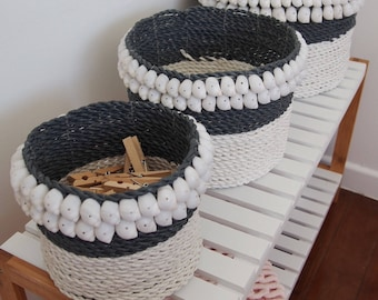 Set of 3 Handmade Rope Baskets. White & Grey with shells