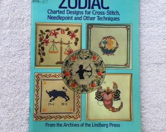 ZODIAC, Charted Designs, Needlepoint, Cross Stitch, Embroidery, Crochet, Virgo, Leo, Aries, Aquarius, Taurus, Scorpio, Pattern Booklet