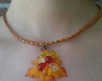 Fall leaf necklace,free US shipping