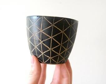 Small Carved Ceramic Bowl/ Black and Rose Carved Ceramic Bowl/ Tiny Desert Bowl/ Small Dip Bowl/ Handmade Ceramic Bowl in Black