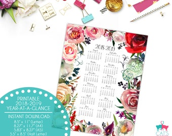Academic Year-at-a-Glance 2018-2019 | Blush & Wine Flowers | Digital | Instant Download | Printable