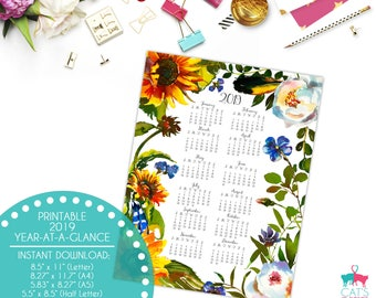Year-at-a-Glance 2019 | Flax & Sunflowers | Flowers | Digital | Instant Download | Printable