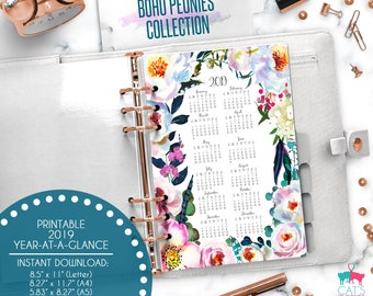 Printable Calendar A5 A4 Letter Watercolor Planners 2019 Year at a Glance | Boho Peonies Floral Collection | BPCYG19
