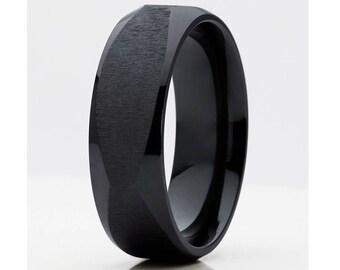 Matte Finish Black Zirconium Wedding Band Men & Women Black Zirconium Ring