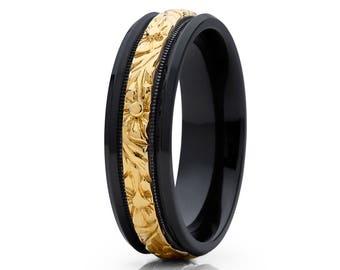 Yellow Gold Wedding Band Black Zirconium Wedding Ring Flower Design Unisex Wedding Band
