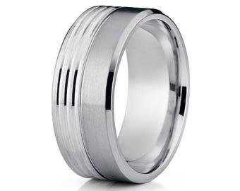 Titanium Wedding Band Men's Titanium Ring Men & Women 14k White Gold Wedding Band Anniversary Ring Comfort Fit