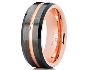Tungsten Wedding Band Rose Gold Tungsten Ring Grey Tungsten Carbide Ring Men & Women Comfort Fit Engagement Ring