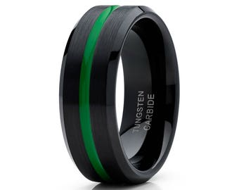 Green Tungsten Wedding Band Black Tungsten Ring Men & Women Tungsten Carbide Ring Brush Wedding Band Comfort Fit