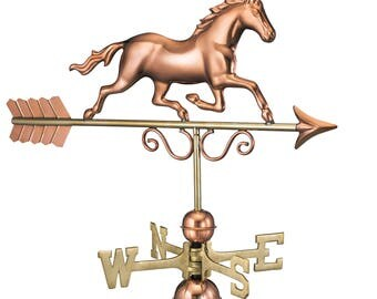 Galloping Horse Weathervane with Roof Mount - Pure Copper