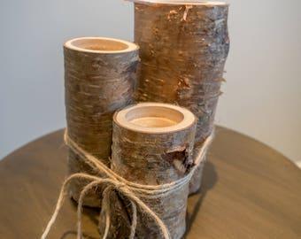 Cherry and birch log tea light candle holder set of 3