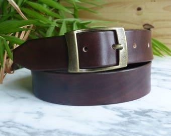 """Leather belt, men leather belt, """"RETRO"""" brown leather belt"""