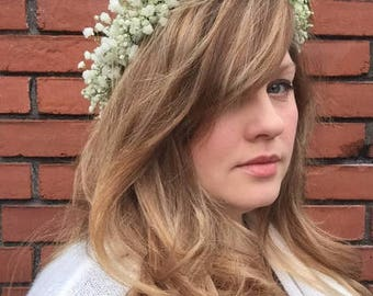 FRESH Baby's Breath Crown, Gyp Crown, Flower Crown, Wedding Crown, Boho, Hippy Crown, Flower Child, Photo Shoot, Photo Prop, Wedding Head
