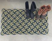 Large Maine rope rug, Recycled lobster rope, Maine made, Vibrant floor mat, outdoor rug, Nautical decor