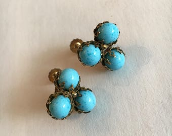 Vintage Mid Century Signed Miriam Haskell Triple Turquiose Screw Back Clip-on Earrings