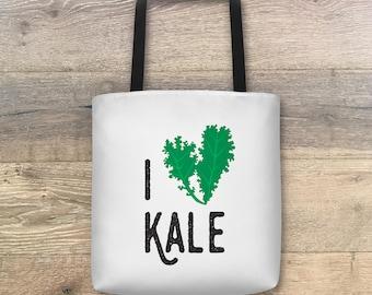 I Heart Kale Tote Bag • Reusable Grocery Bag • Vegan • Vegetarian • Gift • Shopping Bag