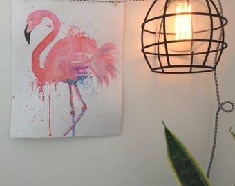 pink flamingo water painting print