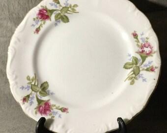 """L & M Bond Fine China Pompadour Rose Salad Plates 7 1/2"""""""