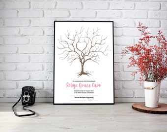 A4/A3 Personalised Christening, Baptism, Naming Day Signature Tree - Personalised With Own Text - Keepsake Gift