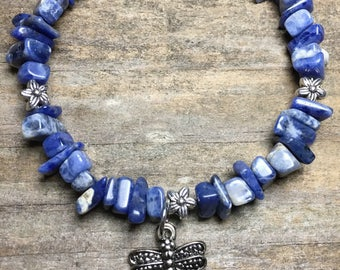 Blue Jasper chip bracelet with silver dragonfly charm, blue beaded bracelet, stone, under 20, gift for her, energy bracelet, charm bracelet