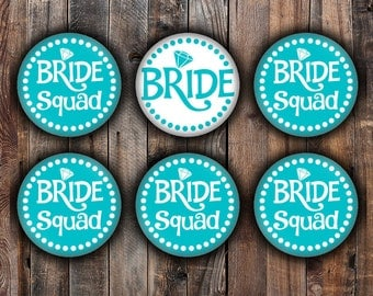 Blue Bride and Bride Squad pins, 2.25 inch, for bachelorette, shower, wedding