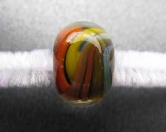 BORO Lampwork Focal Bead, Lampwork Focal Bead, Rainbow Lampwork Bead, Yellow, Orange, Red, White, Blue, Black, Handmade Lampwork - HGD2910