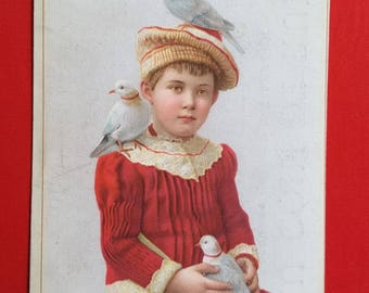 Chromo young girl with doves card street advertising 1920 haberdashery shop