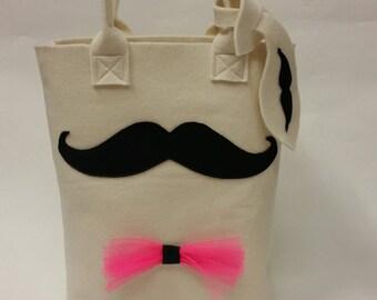 Shopper, moustache, bow, hip, shopping bag, beige