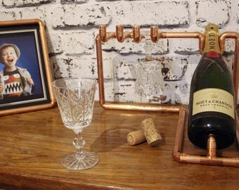 Industrial wine rack, copper pipe, copper wine rack, wine lovers, steampunk, champagne holder, industrial gift, industrial style