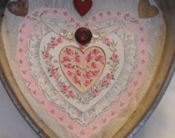 Vintage  mixed media  heart shaped  decor