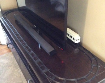 Black Lego Train Track for Tv Stand or Display