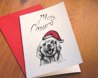 Christmas Dog Greeting Card - Single Card