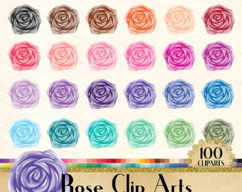 100 Rose Clipart, Flower Clipart, Love Clipart, Valentine Clipart, 100 PNG Clipart, Planner Clipart, Rainbow Clip Arts