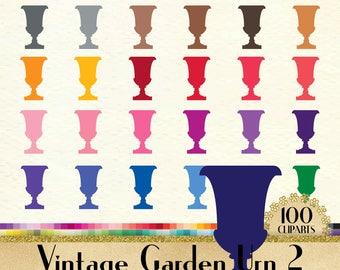 100 Vintage Garden Urn Clipart, Vintage Vase Clipart, 100 PNG Clipart, Planner Clipart, Instant Download Clipart