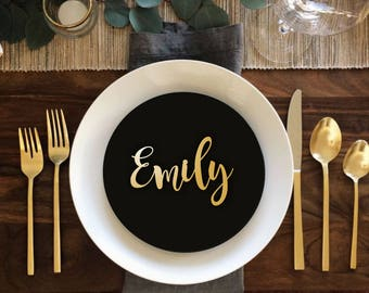 """Sale Place Name  Gold Place Name Wooden Wedding Place Name Wedding Place Setting-Please Enter your phone number in the """"NOTE to the seller"""""""