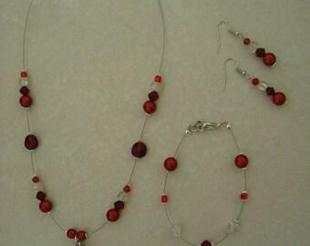 Red flower jewelry set