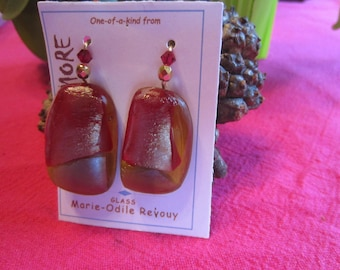 Red and amber iridescent glass earrings