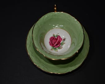 PARAGON Green, Footed, Tea Cup & Saucer Set, widemouth, By Appointment, To Her Majesty the Queen, Bone China, Gold, Dark pink rose on center